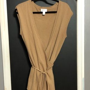 LOFT Tan Tie Wool Blend Sleeveless Cardigan